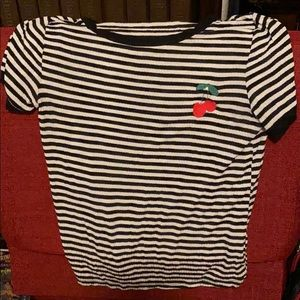 90s style striped cherry t-shirt